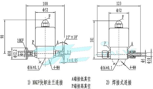 电磁高真空挡板阀|参数|结构|报价|新闻|上海首龙厂家|TC品牌|上海首龙阀门有限公司 产品型号:GDC-Q5/GDC-5 产品口径:DN5mm 产品压力:1.0MPa-1.6MPa 产品材质:铸钢|不锈钢 GDC-Q5/GDC-5电磁高真空挡板阀简介: GDC-Q5型电磁高真空带充气阀连接在高低真空系统上,该阀通电阀板打开,同时封闭充气口,将P、A端管路接通;断电时阀板关闭,切断P、A端管路,保证系统的真空度,同时打开充气口,通过F端向A端充气。 GDC-5型电磁高真空挡板阀连接在高低真空管路上,用来接